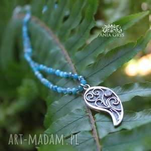 Romantyczna rozeta, jaspis, srebrnarozetka, kamieńksiężycowy, supełkowany, naszyjnik