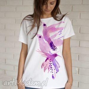 RÓŻOWE PTAKI koszulka bawełniana S/M biała, koszulka, bluzka, bawełna, ptaki, nadruk