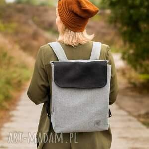 plecak szary z czarnym, plecak, dla kobiet, unikalny