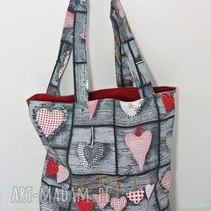 torba na zakupy ekologiczna shopperka retro serca czerwona podszewka, torba