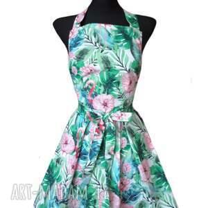 fartuch kuchenny sukienkowy wzór flamingi, kuchenny, elegancki