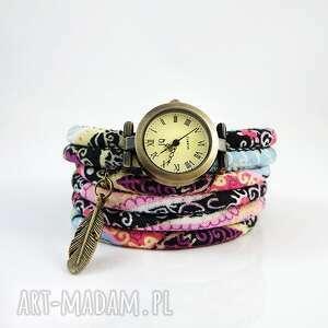 zegarki zegarek, bransoletka - pastelowy boho owijany, owijany
