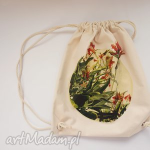 Prezent KWIATY plecak / worek torba - płócienna, eco, bawełna, prezent, naruk