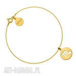 złota matowa bransoletka z zodiakiem skorpiona - znak zodiaku, zawieszka