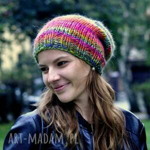 czapki kolorowa czapka, prezent, w góry, na drutach
