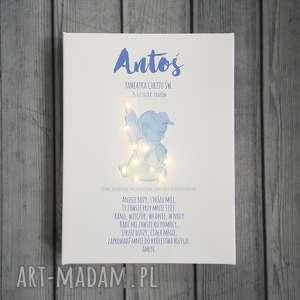 Prezent PAMIĄTKA CHRZTU świecący obraz LED modlitwa aniołek prezent na chrzest