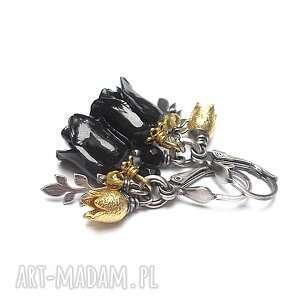 róże /black/ - kolczyki, srebro oksydowane, pozłacane, koral, cytryn, onyks