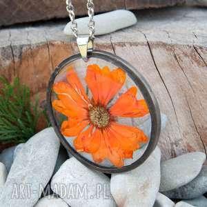 naszyjnik z suszonym kwiatem z37 - naszyjnik z kwiatów, biżuteria z żywicy