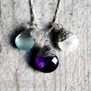 925 Srebrny łańcuszek akwamaryn księżycowy, kamienie, szlachetne, minerały, kolorwe