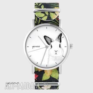 ręczne wykonanie zegarki zegarek - królik kwiaty, nato