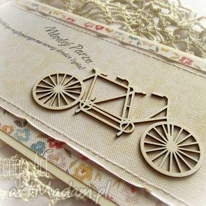 słoneczna kartka ślubna z tandemem - kartka, ślubna, życzenia, gratulacje