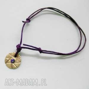 OKRĄG bransoletka, brąz, swarovski, sznurek