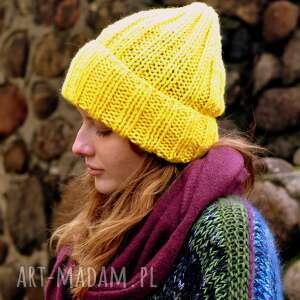 Czapki the wool art ciepła czapka, na drutach, wywijana