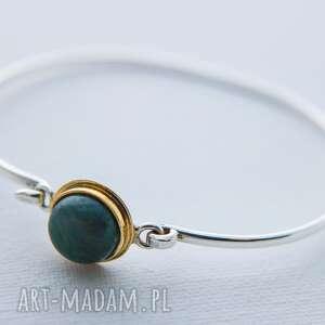 bransoletka srebrna delikatna i kobieca z kamieniem, agat zielony