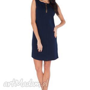sukienki sukienka r_3 granat, sukienka, prosta, wygodna, zamek, dresówka