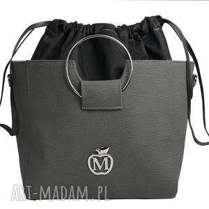 torebka manzana z kółkiem i ściąganym workiem szara, torebka, damska, kuferek