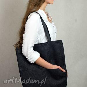Prostokątna torba A4 z grubo plecionej tkaniny na ramię , torba, czarna, szara,