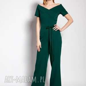 ubrania kombinezon z dekoltem typu carmen - kb116 zielony, kombinezon, green