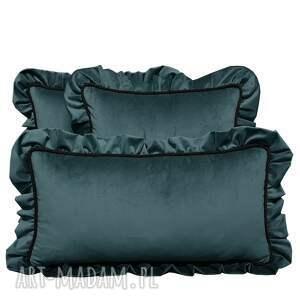 ręcznie robione poduszki dekoracyjne komplet 3 welur szaro-morski od majunto