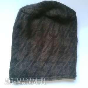 czapki czapka męska damska unisex wełniana brązowo-czarna handmade