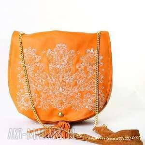 orange etno, torebka, boho, haft, mana-mana, ekoskóra na ramię, prezent