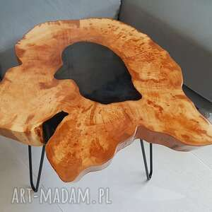stolik kawowy, plaster drewna - olcha, żywica, stolikkawowy, żywicaepoksydowa
