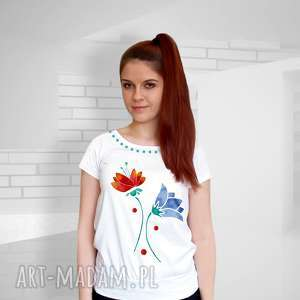 bawełniana bluzka ręcznie malowana, bluzka, koszulka, shirt, malowane, kwiaty