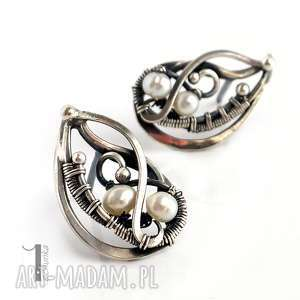 sorbus z perłą i srebrne kolczyki perłami, srebro, perły, wirewrapping, oksydowane