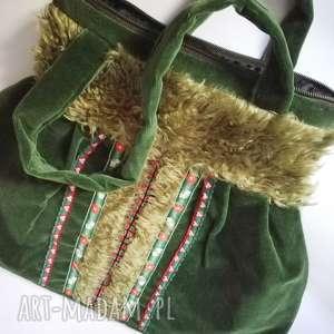 duża ludowa torba tasiemki haftowana ciemna zieleń aksamit, torebka
