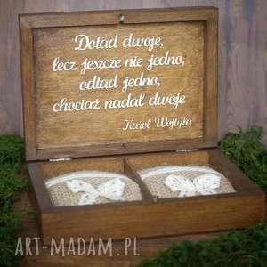 Pudełko na obrączki - cytat, pudełko, obrączki, drewno, koronka, eko,