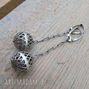 ażurowe kule - kolczyki ii, srebro, kolczyki