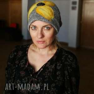 czapka damska zimowa z wełną merynosow, etno boho, wełna, ludowa