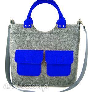 two blue pockets, filc, torebka, kieszonki torebki