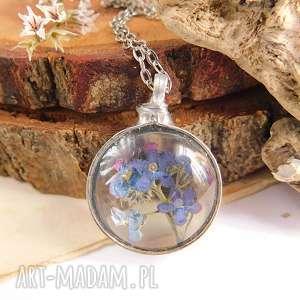 niezapominajki w szkle - wisiorek okrągły - suszone kwiaty, wisiorek szklany