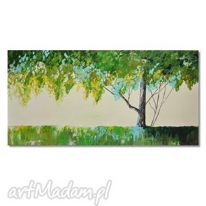 drzewo w zieleni, nowoczesny obraz ręcznie malowany, drzewo, pejzaż, obraz,