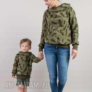 komplet bluz khaki piórka dla mamy i syna / córki, khaki, bluzy, bluzakhaki