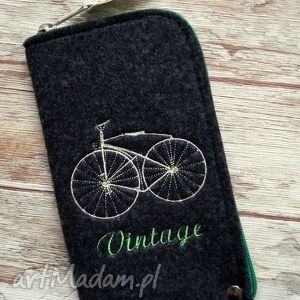 filcowe etui na telefon - vintage bike, pokrowiec, smartfon, etui, filc, retro