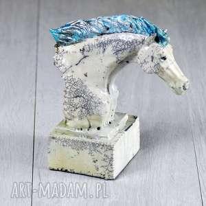 Figurka popiersie konia - Raku Chabby chic Prowansalski styl, dekoracja-domu