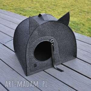 dekoracje filcowy domek, legowisko dla kota - grafit, domek kota, pudełko