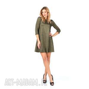 sukienki sukienka złota z rękawem 3/4 rozmiar 46, rozkloszowana, złota, brokat