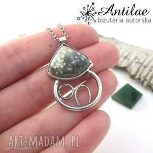 naszyjnik domek, srebrny naszyjnik, jaspis oceaniczny, srebro - jaspis, srebro, naszyjnik