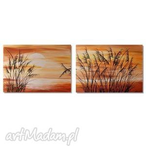 sitowie, nowoczesny obraz ręcznie malowany, zachód, słońca, pejzaż, obraz,