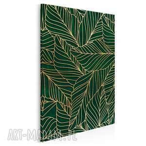 Obraz na płótnie - liście art-deco złoty w pionie 50x70 cm 90303