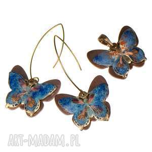 c241 komplet motyle miedziane emaliowane - komplet-motyle, komplet-biżuterii