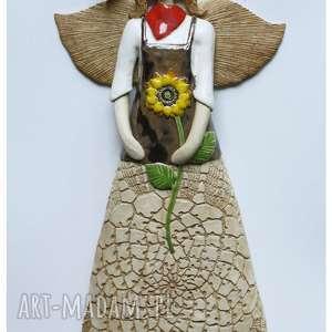 Anioł wiszący ogrodniczka, ceramika, anioł, ogrodnik