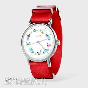 zegarek, bransoletka - kolorowy wianek czerwony, nato, bransoletka, nato