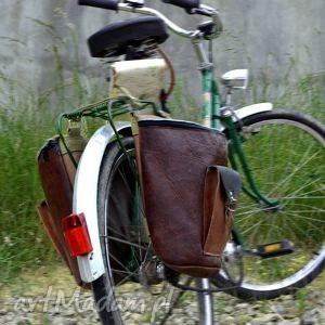 skÓrzane sakwy na rower odcienie brązu - rower, panniers, sakwy, rowerowe