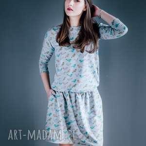 W ptasim raju-sukienka, boho, zbluzowana, midi-spódnica, dzaininowa, wzory,