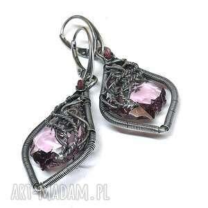 kolczyki z różowymi kryształami swarovski, kolczyki, kryształ, turmalin, różowy