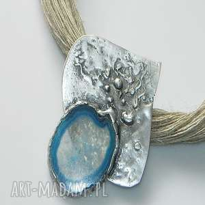 ręcznie wykonane wisiorki niebieski agat